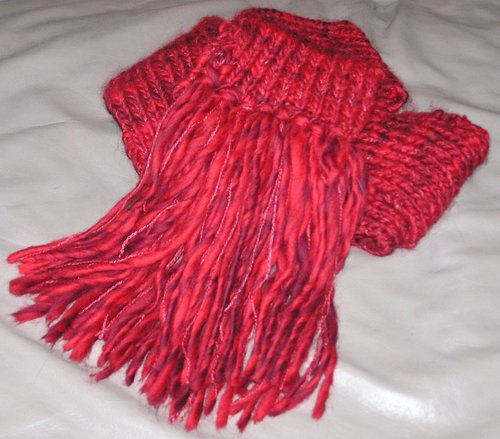 Red Purl Scarf